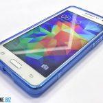 Samsung Galaxy Grand Prime - Custodia blu minigel TPU silicone ultra sottile a tre quarti