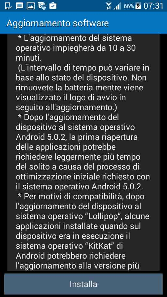 Aggiornamento Samsung Galaxy Grand Prime Lollipop 5.0.2 - disclaimer