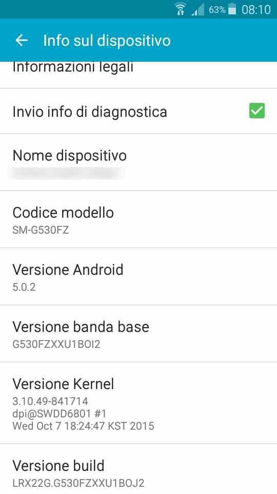 Aggiornamento Samsung Galaxy Grand Prime Lollipop 5.0.2 - info telefono