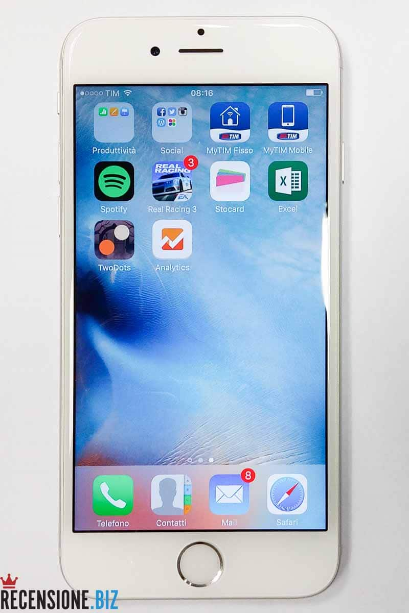 Recensione Apple iPhone 6S - frontale con display 3D Touch