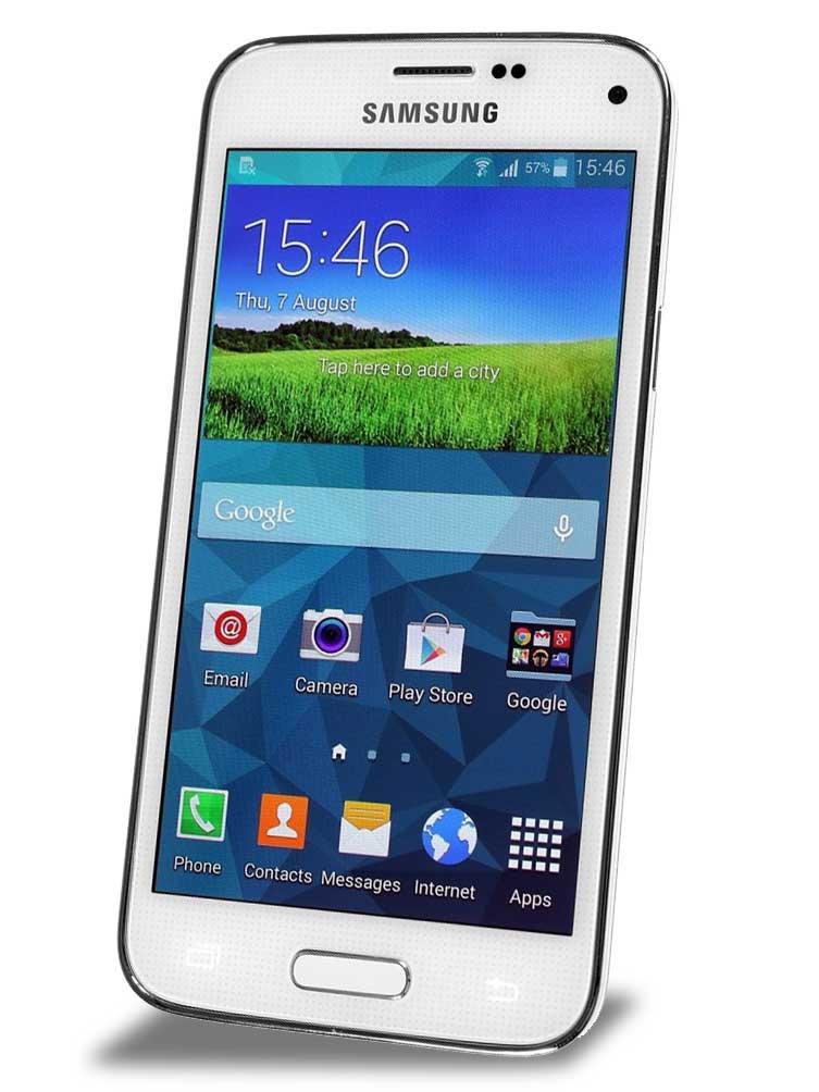 Samsung Galaxy S5 mini - frontale con schermo acceso