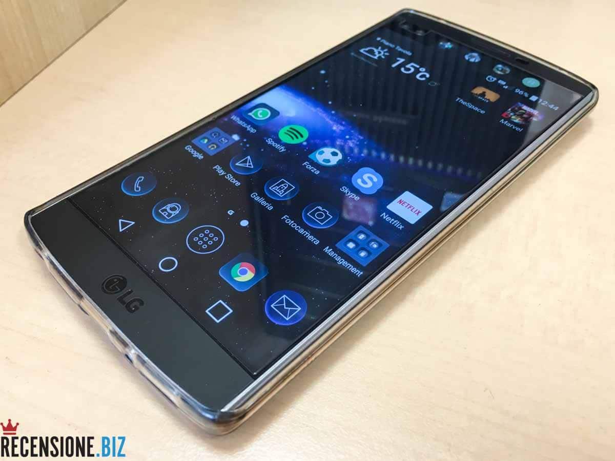 LG V10 3-4 destra schermo acceso