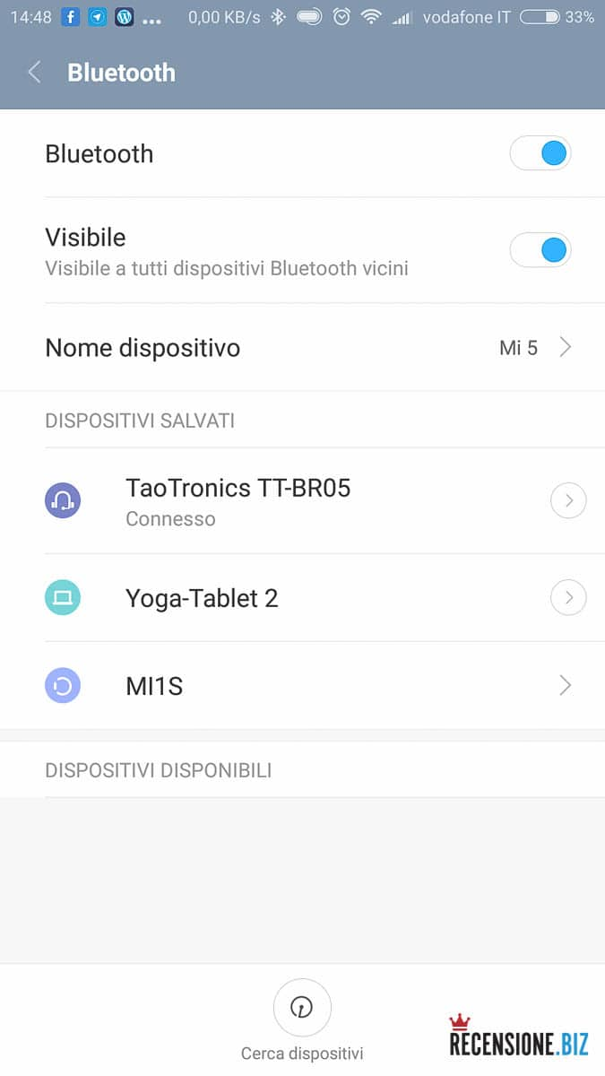Taotronics TT-BR05 connesso Android